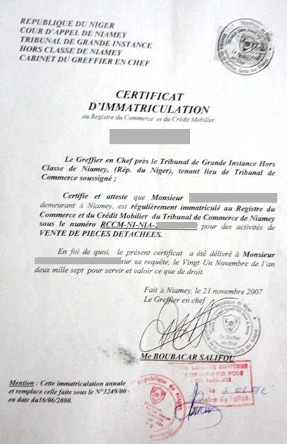 Eregulations niger - Extrait d immatriculation chambre des metiers ...