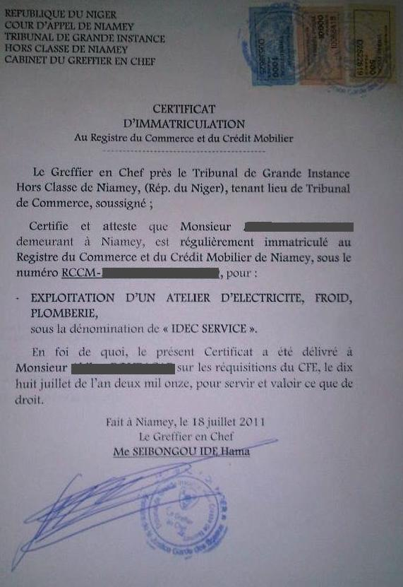 Eregulations niger - Numero de telephone de la chambre des commerces ...